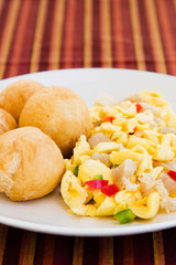 Caribbean style vegetable dumpling (ackee) served with saltfish