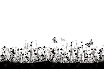 Wiese und Schmetterlinge in Schwarz, Grau, Braun