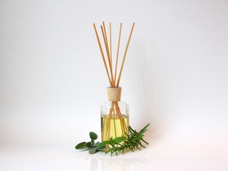 Aromatherapy with assortment of Herbs set on white background