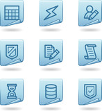 Database icons, blue sticker series poster