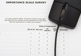 survey with computer mouse, excellent customer service poster