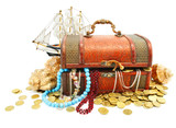 old wooden trunk with money and jewellery isolated poster