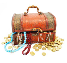 old wooden trunk with money and jewellery isolated
