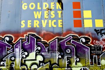 Graffiti on a Blue Train Car