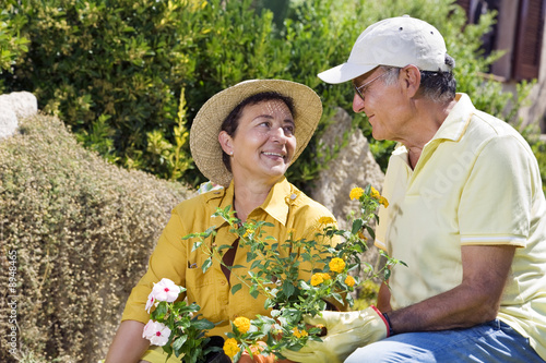 Portrait of senior Italian couple in garden