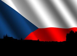 Prague skyline with rippled flag of Czech Republic illustration