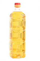 The high plastic bottle with sunflower oil.