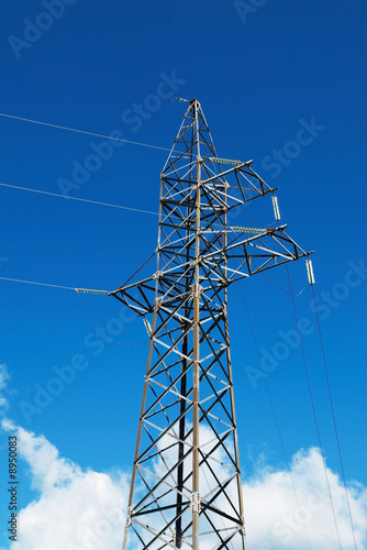 Steel electric pole and clouds
