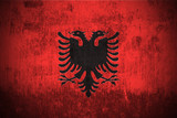 Weathered Flag Of Albania, fabric textured.. poster