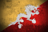 Weathered Flag Of Kingdom of Bhutan, fabric textured.. poster