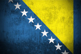 Weathered Flag Of Bosnia and Herzegovina, fabric textured.. poster