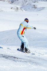 Snowboard girl downhill