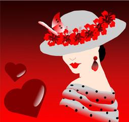 femme au chapeau et message d'amour