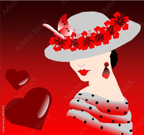 femme au chapeau et message d 39 amour from magalice royalty. Black Bedroom Furniture Sets. Home Design Ideas