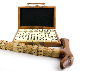 card case of domino and wood cane with the carved game