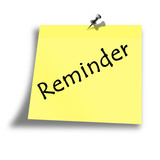 yellow reminder memo on a white background poster
