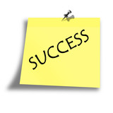yellow success memo on a white background poster