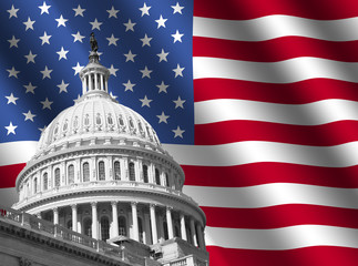 US Capitol building Washington DC with rippled flag