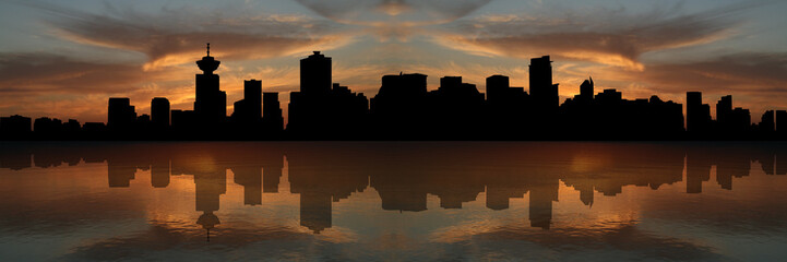 Vancouver skyline at sunset reflected in water illustration