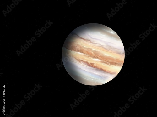 the illustration of planet the Jupiter on background of stars