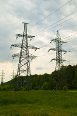 high-tension transmission line towers