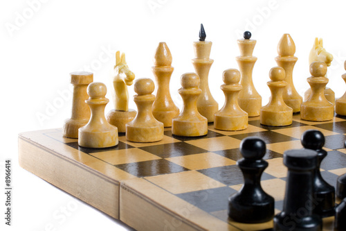 chess beginning, isolated on white poster