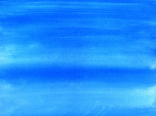 Blue painted canvas watercolor wash background.