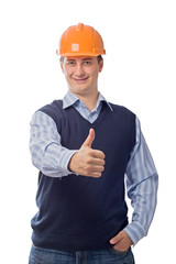 man in orange helmet showing good sign