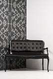 Couch in monochrome interior poster