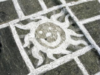Pavement sun painting
