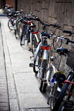 Bicycles near the wall. Traditional Italy small side-street. poster