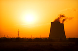 Heat and power plant on red sunset background. poster