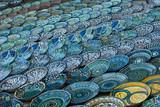 Background of traditional Uzbek ceramic plates poster