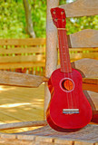 Ukele string instrument on old rocking chair on porch poster
