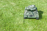 Soviet medium tank T-34 of World War II model on a  grass poster