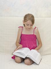 Little beautiful girl reading book