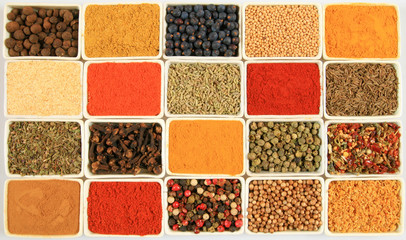 Whole variety of colorful spices.