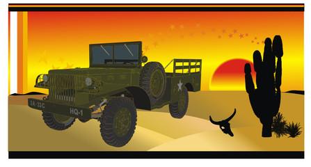 carro en el desierto en vector