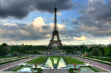 Eiffel tower over stormy seen from Trocadero terrace. HDR image. poster