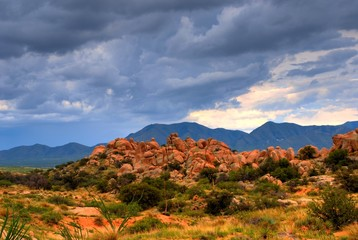 Stormy weather in Texas Canyon in Southeast Arizona