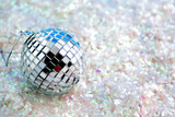 disco ball  decoration on white glitter great for backgrounds, poster