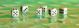Six digital dices jn a complex flavovirent background poster