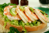 Delightful fresh shrimp and avocado open sandwich poster