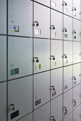 Wall of lockers.