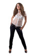 young beauty woman in black jeans. Isolated