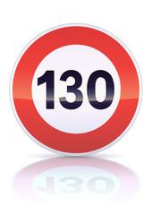 Limitation de vitesse à 130 (reflet métal)