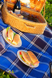 Picnic sandwiches in front of basket poster