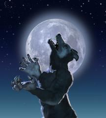 Mutant Wolf  Creature in Moonlight - 3D render