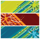 floral banners (headers), vector illustration poster