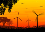 Wind turbines on sundown poster